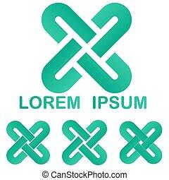 Curved line logo design set - Green curved line logo vector...