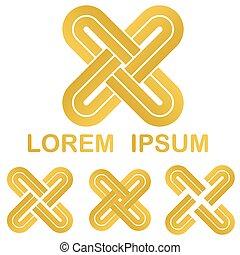 Golden curved stripes link logo set