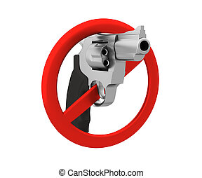 Sign of the ban - a revolver 3D render Isolated on white...