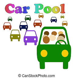 carpool please - carpool vehicle with assorted passengers in...