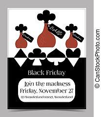 Drink Me Bottle. Black Friday Banner Postcard Brochure