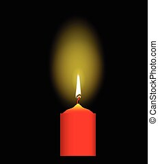 Red Christmas Candle - A red glowing Christmas Candle over a...