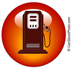 red petrol or gas pump web button or icon