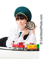 Angry railroad worker look at you