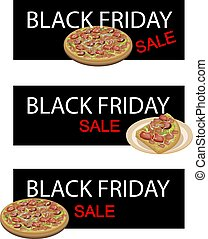 Deluxe Pizza on Black Friday Sale Banner - Illustration of...