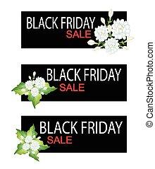 Jasmine Flowers on Black Friday Sale Banner - Illustration...