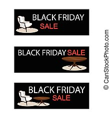 Table and Chair on Black Friday Sale Banner