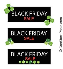 Polyscias Leaves on Black Friday Sale Banner - Illustration...