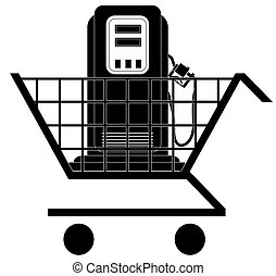 shopping cart with gas pump - shopping for lowest price