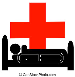 person lying in hospital bed with first aid symbol