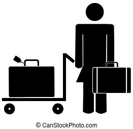 stick woman or figure with briefcase and luggage