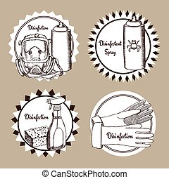Sketch set of disinfection logos in vintage style,