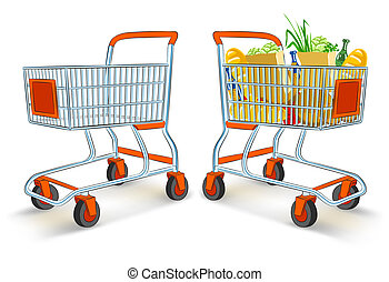 full and empty shopping carts from supermarket store -...