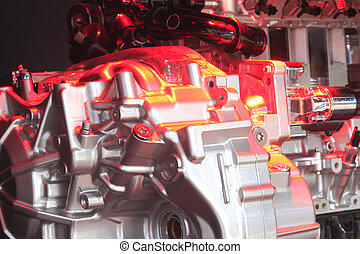 Red light irradiation car engine of close-up - Red light...