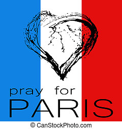 Pray for Paris The symbolic image of a broken heart in the...