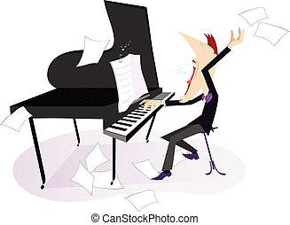 Expressive composer - Pianist or composer plays piano and...
