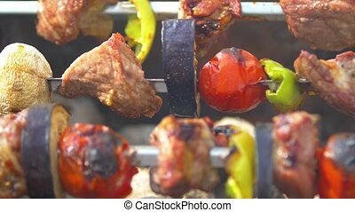 Tomato, meat, eggplant and mushroom is baked on skewers...