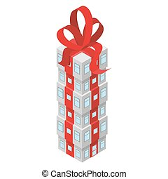 Gift building with red bow. Office building decorated with Red Ribbon. Skyscrapers unusual. House for holiday.