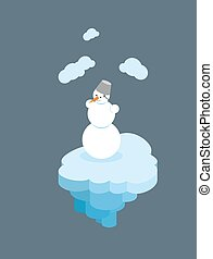Snowman on floating island Christmas character on piece of...