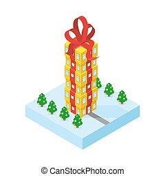 Gift of skyscraper. Tall office building from  gift box with red bow. Part of winter land with trees.