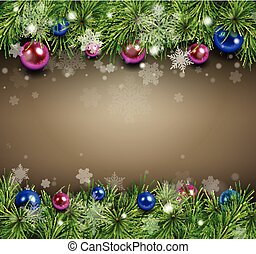 Christmas background with fir branches, snowflakes and balls...