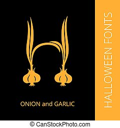 Halloween alphabet letter H consist of onion and garlic