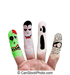 Halloween concept - Painted finger - Painted finger monsters...