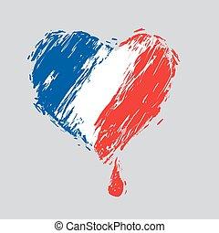 sangramento, Coração, bandeira, cores, francês