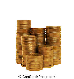 Stacks of golden coins - Different stacks of coins isolated...