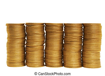 Golden finance - Stacks of coins standing in one row on...