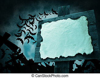 Halloween pointer blue color - Halloween sign with a blank...