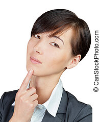 Solutions and answers - Young businesswoman thinking about...