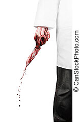 Scary doctor - Crazy doctor with a bloody knife on the white...