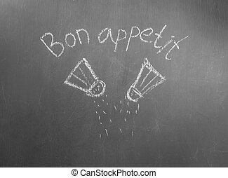 Bon appetit - Seasonings painted on gray board
