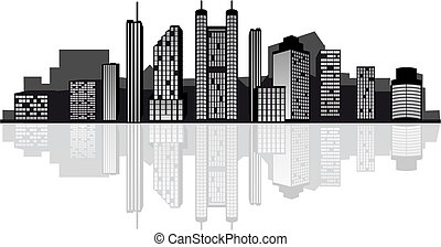 Modern city skyline - Modern cityscape for design as a...