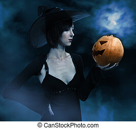 Witch in Halloween Night - Scary witch with pumpkin in Night...
