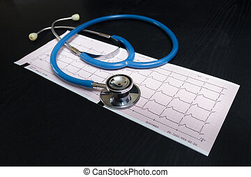 Cardiogram - Stethoscope and cardiogram