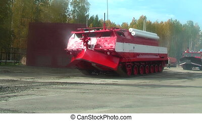 Special fire fighting vehicle SPM in motion - Nizhniy Tagil,...