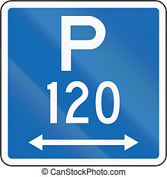 New Zealand road sign - Parking permitted during standard...