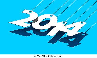 White tags with 2014 on blue background - Illustration for...