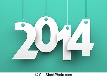 White tags with 2014 on green background - Illustration for...