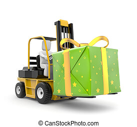 Forklift with gift box - New Year metaphor Isolated on white...