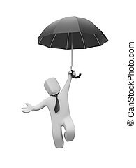 Businessman goes downor up on the umbrella - Business...