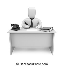 Businessman works - Image contain the clipping path