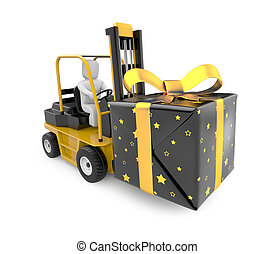 Forklift with gift box - Image contain the clipping path