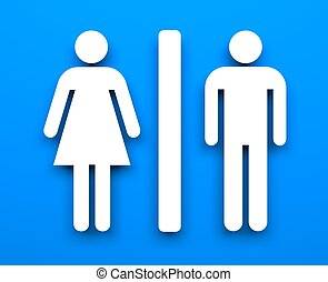 Toilet symbols - Conceptual image Isolated on white