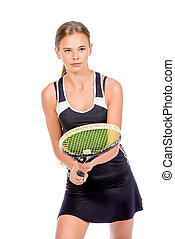 tennis sport - Portrait of a girl tennis player in motion....