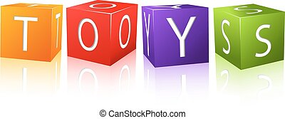 word toys composed from letter cubes. illustration isolated...