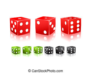 black red green dice with white dots icon set
