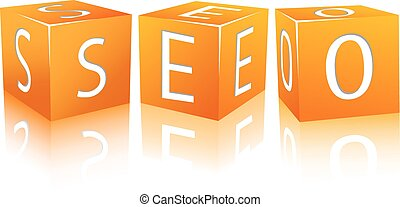 SEO composed from cubes - Orange Cubes Isolated on White...
